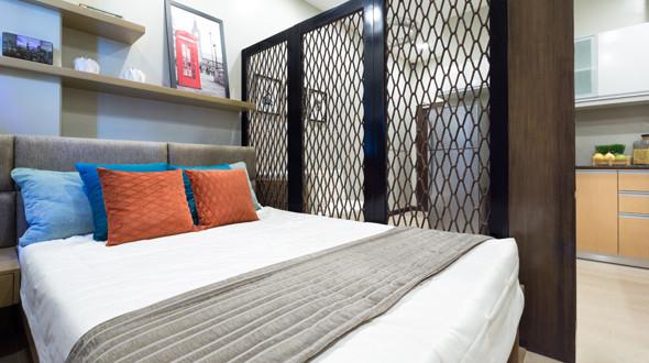 Actual Bedroom of  a model Studio Unit